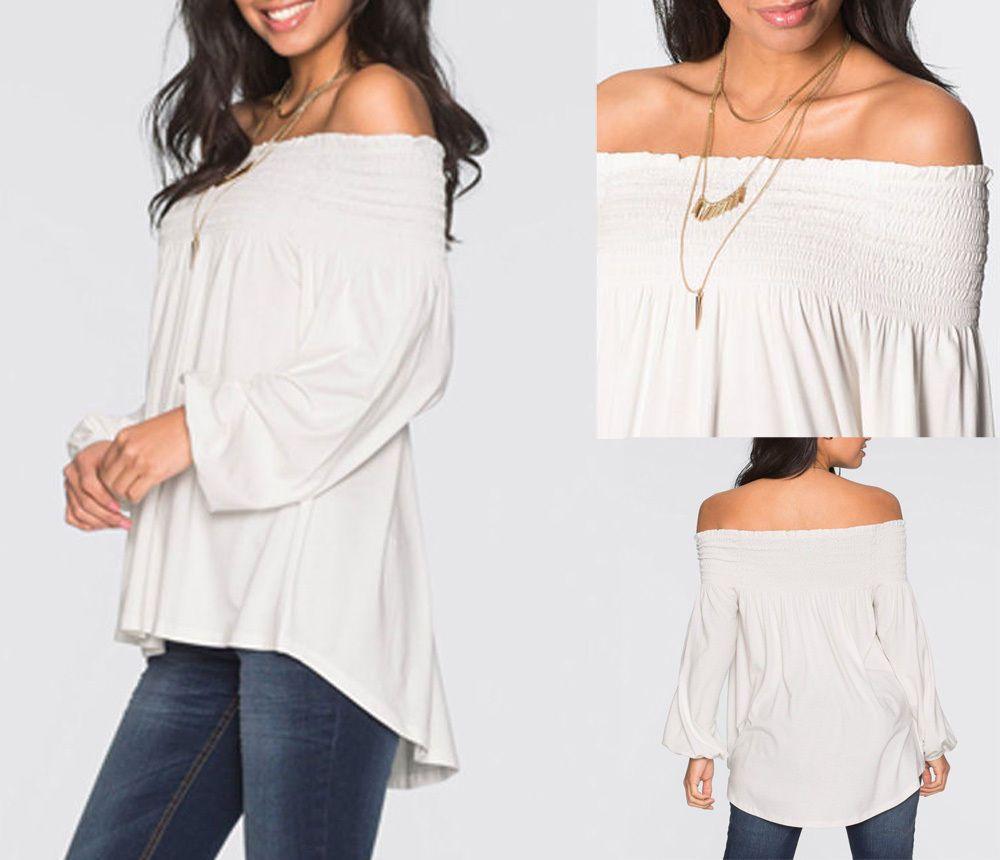 nice Fashion Women's Ladies Summer Loose Tops Long Sleeve Shirt ...