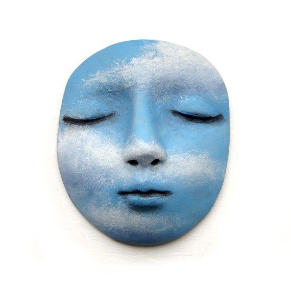 Blue Sky Clouds Dream Face Cab Polymer Clay Art by graphixoutpost