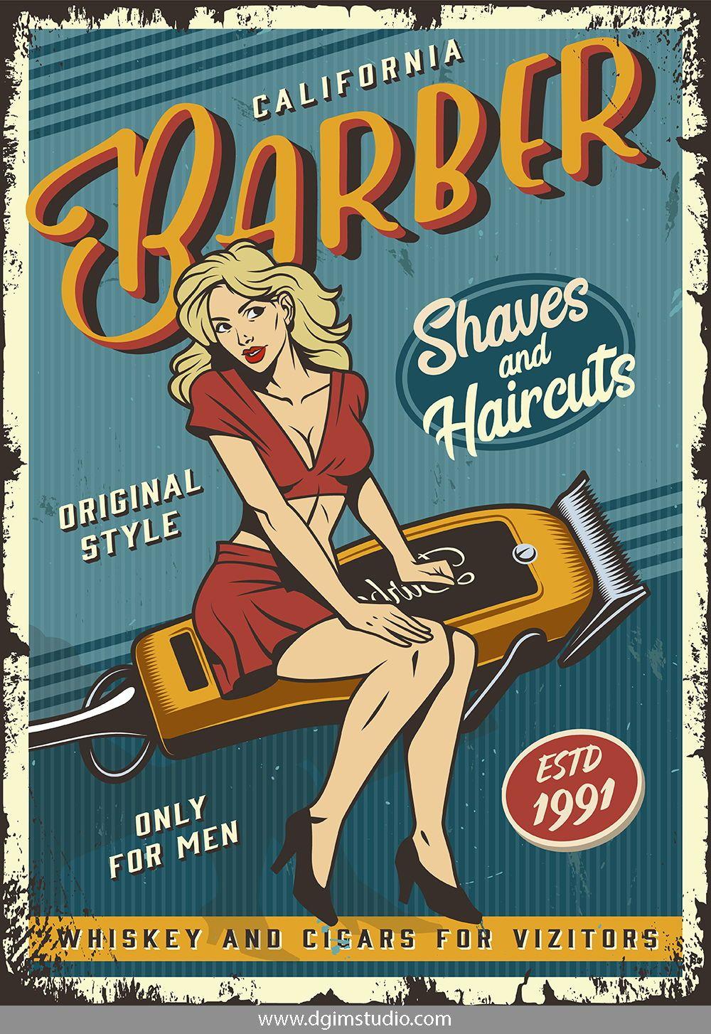 Pinup Retro Posters Fotografi Tempo Dulu Tukang Cukur Kertas Dinding