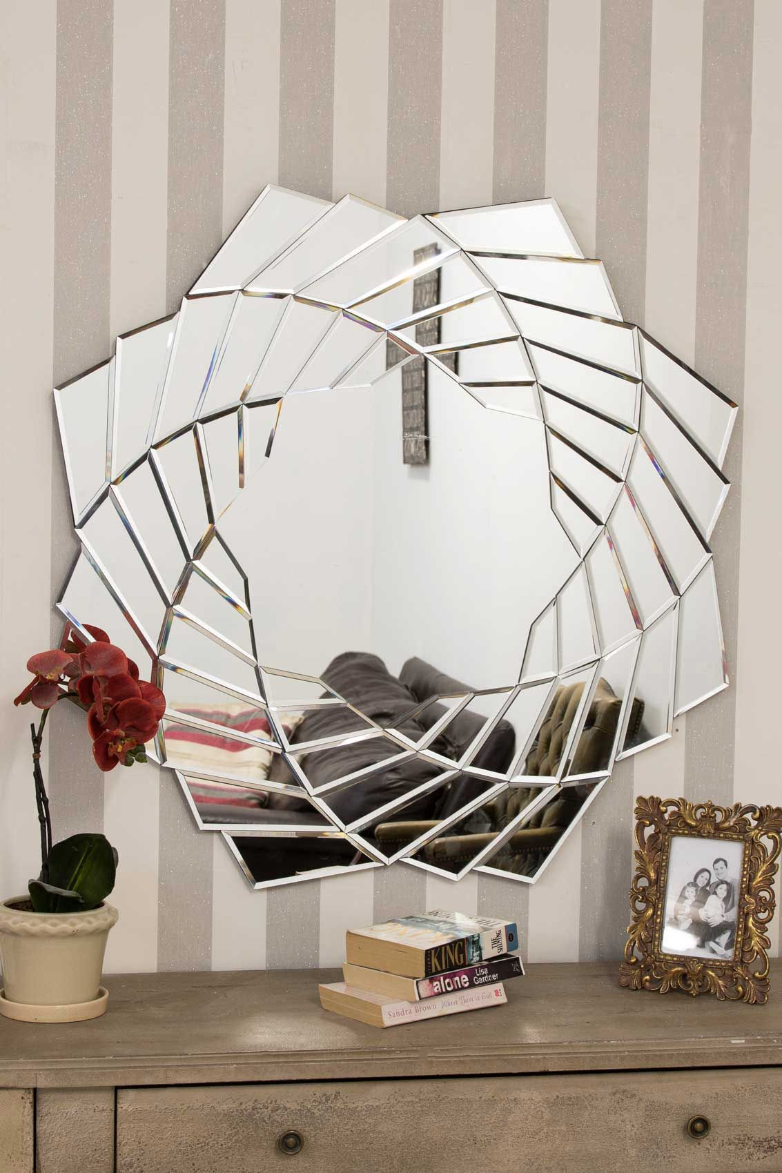 Henley Funky Round Mirror 90cm Features Multiple Bevelled Mirrored Sections Creating A Funky Round Mir In 2020 Mirror Design Wall Modern Mirror Wall Mirror Wall Decor