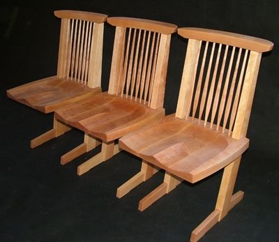 These Nakashima inspired chairs are handmade out of yellow birch in Mount Tabor, VT by Bob Gasperetti. Innovative, beautiful and sturdy.