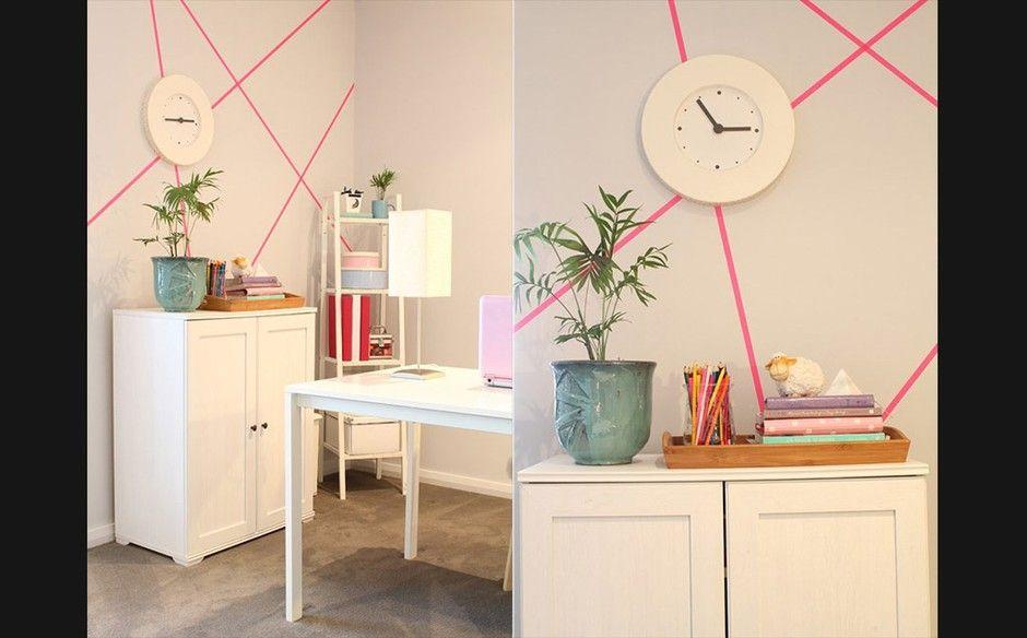 Arte de parede com fita adesiva inspire se com ideias fáceis dos blogs de decoraç u00e3o FA u00c7A VOC u00ca  # Decorar Parede Com Fita Adesiva