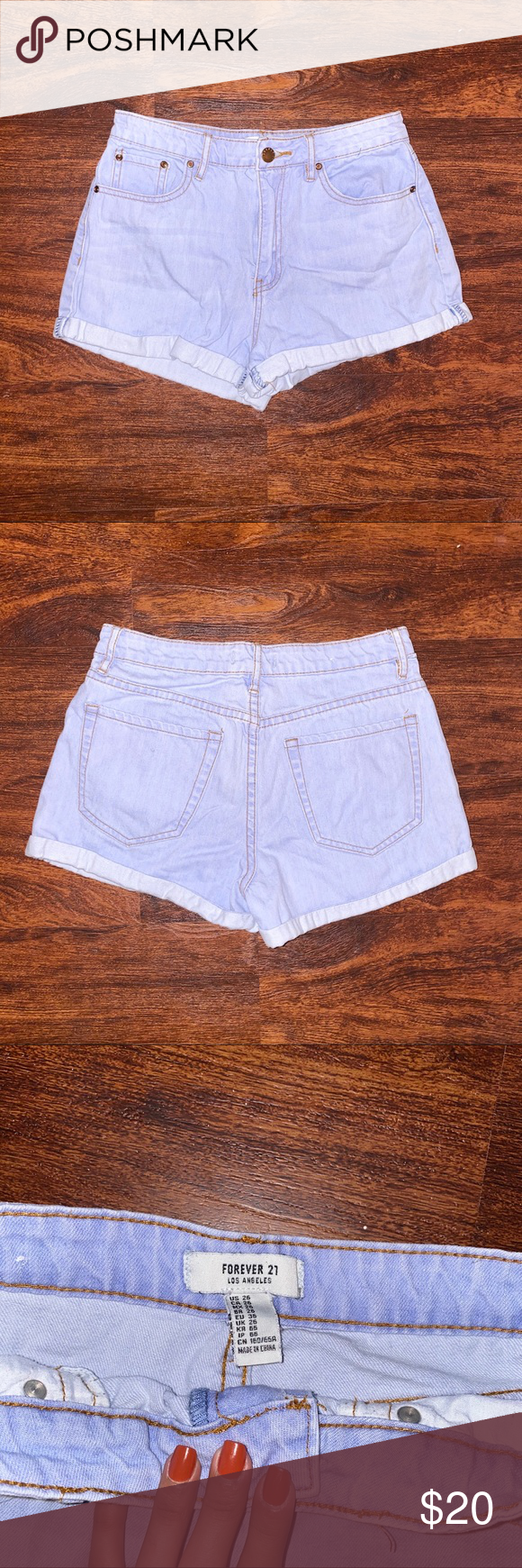 Forever21 Light Blue High Waisted Shorts. Pair it with your favorite top and shoes.  • Color: Light Blue • Size: US 26 Forever 21 Shorts #lightblueshorts