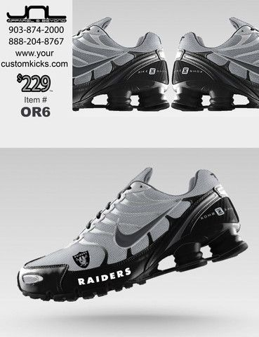 d59ae4ded69a Custom Oakland Raiders Nike Turbo Shox Team Shoes – JNL Apparel ...