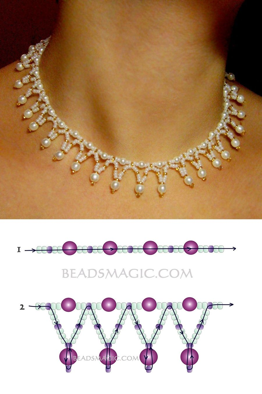 Free pattern for necklace tenderness seed beads 110 pearl beads 4 free pattern for necklace tenderness seed beads 110 pearl beads 4 mm pearl beads bankloansurffo Image collections