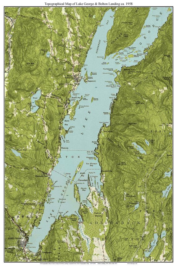 map lake george ny Lake George Bolton Landing 1958 Usgs Old Topographic Map Lake map lake george ny