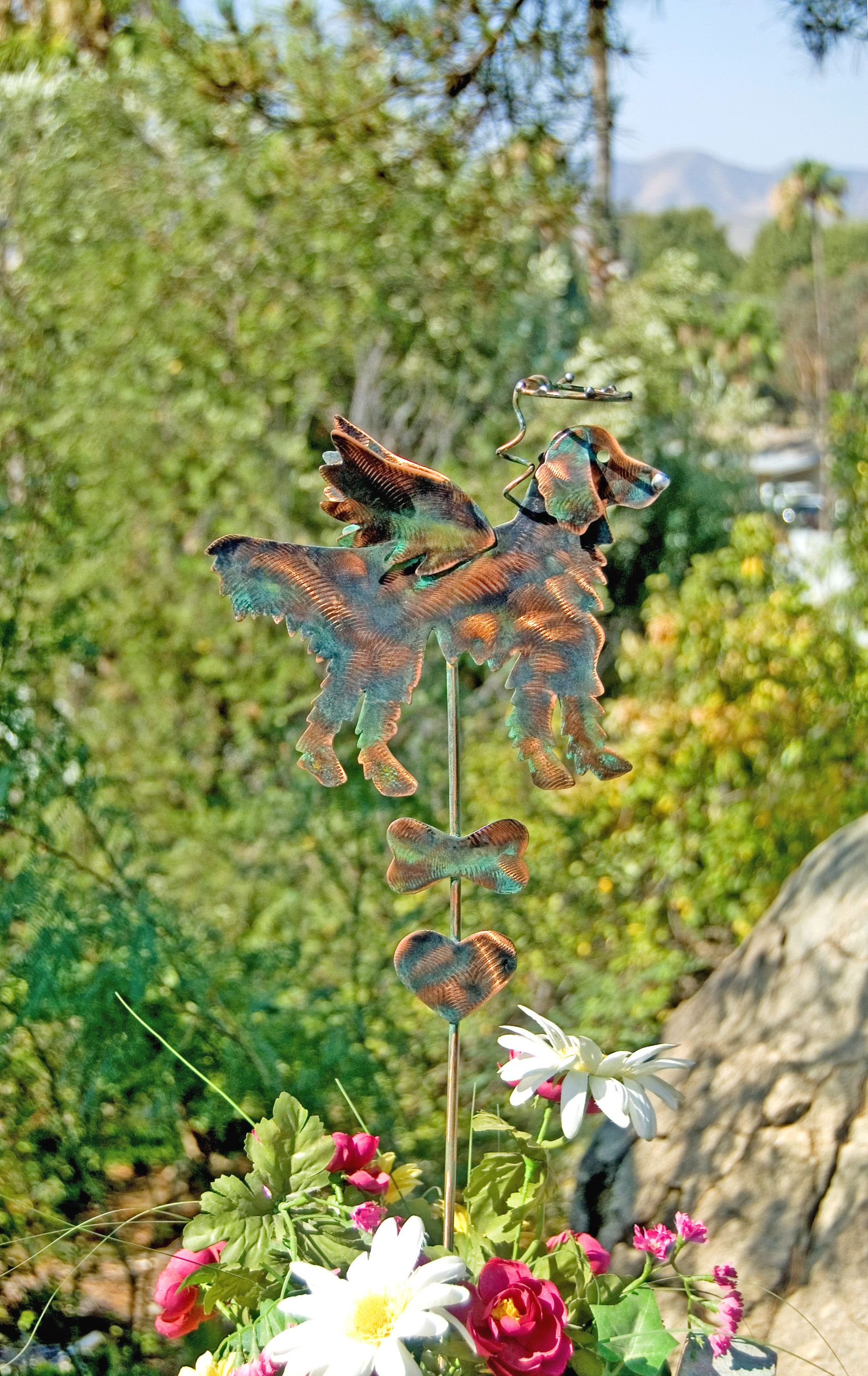 Golden Retriever Garden Art Pet Memorial Garden Stake, Metal Garden Art,  Copper Dog Grave