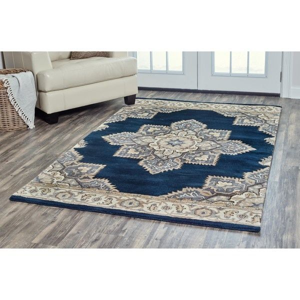 Arden Loft Crown Way Indigo Blue Shades Of Navy Oriental Hand Tufted Wool Area Rug 5 X 8 By Rizzy Home