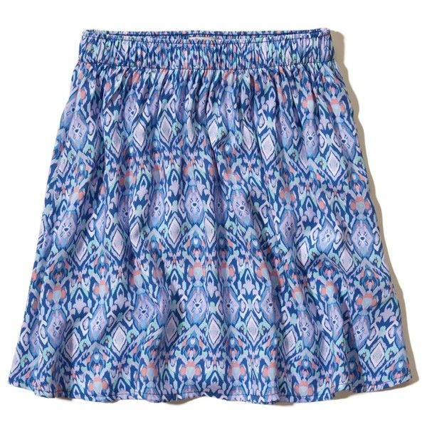 Hollister Printed Skater Skirt ($15) ❤ liked on Polyvore featuring skirts, mini skirts, blue print, blue circle skirt, blue mini skirt, print skater skirt, flared mini skirt and skater skirts