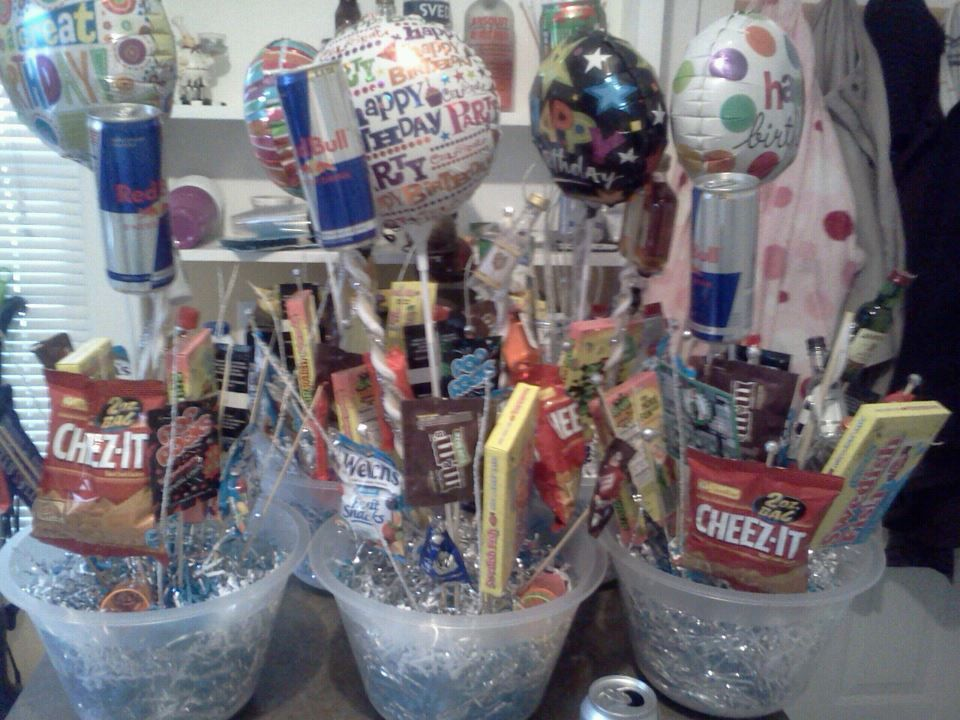 21ST Boy birthday center pieces. Coors light beer can