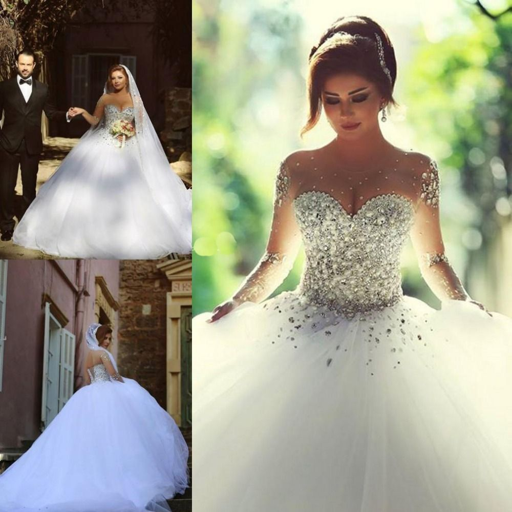 white and crystal wedding dress