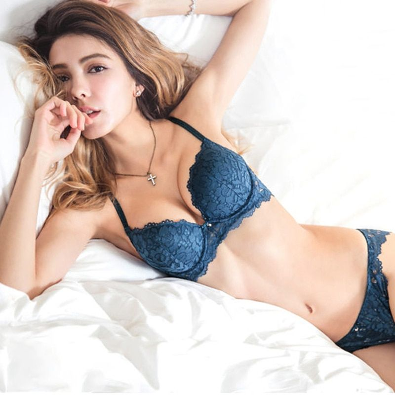 10777d1cb Hot Sexy Push Up Bra Set Brand Deep V Brassiere Thick Cotton Women  Underwear Set Lace Blue Embroidery Flowers Lingerie B C Cup Price  19.80    FREE Shipping ...