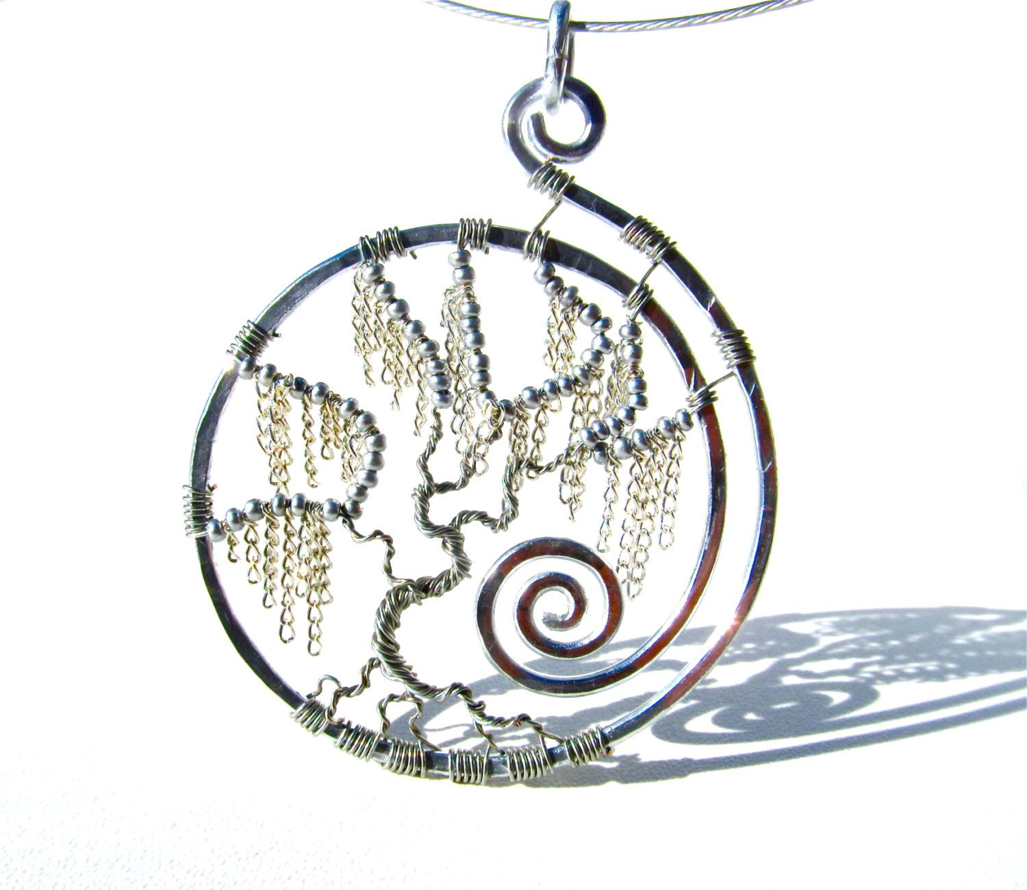 Tree of life ornament - Tree Of Life Silver Weeping Willow Pendant With Silver Chain Leaves And Silver Wire Branches