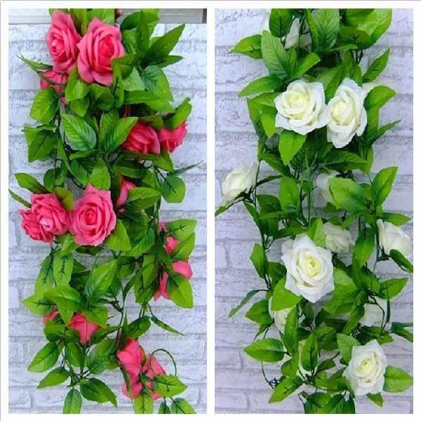 Artificial rose garland silk flower vine ivy home wedding garden artificial rose garland silk flower vine ivy home wedding garden floral decor mightylinksfo