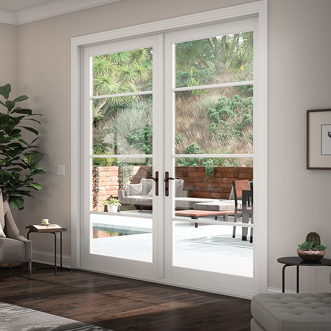 High End Vinyl Out Swing French Patio Doors Tuscany Series Milgard In 2020 Modern Patio Doors French Doors Patio French Doors Exterior