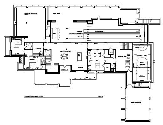 Home Floor Plan w/ Two lane Bowling Alley in 2019