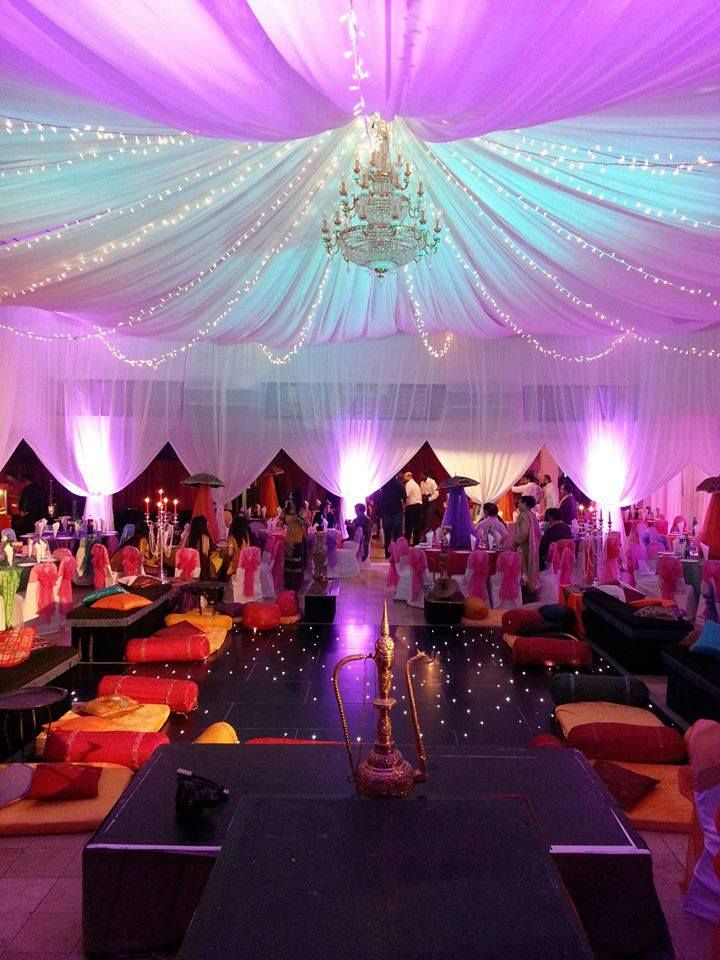 Bollywood Theme Party Decorations Ideas Part - 46: Moroccan Theme Party Decoration What I Really Like About This Is The  Multicolor Tarp Ceiling Thing That They Have Goimg On Here, With The  Chandelier.