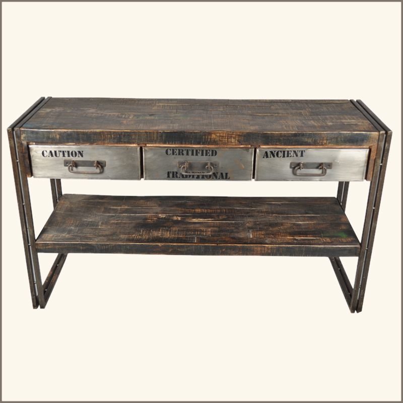 Industrial Museum 3 Drawer Reclaimed Wood U0026 Iron Hall Console Table