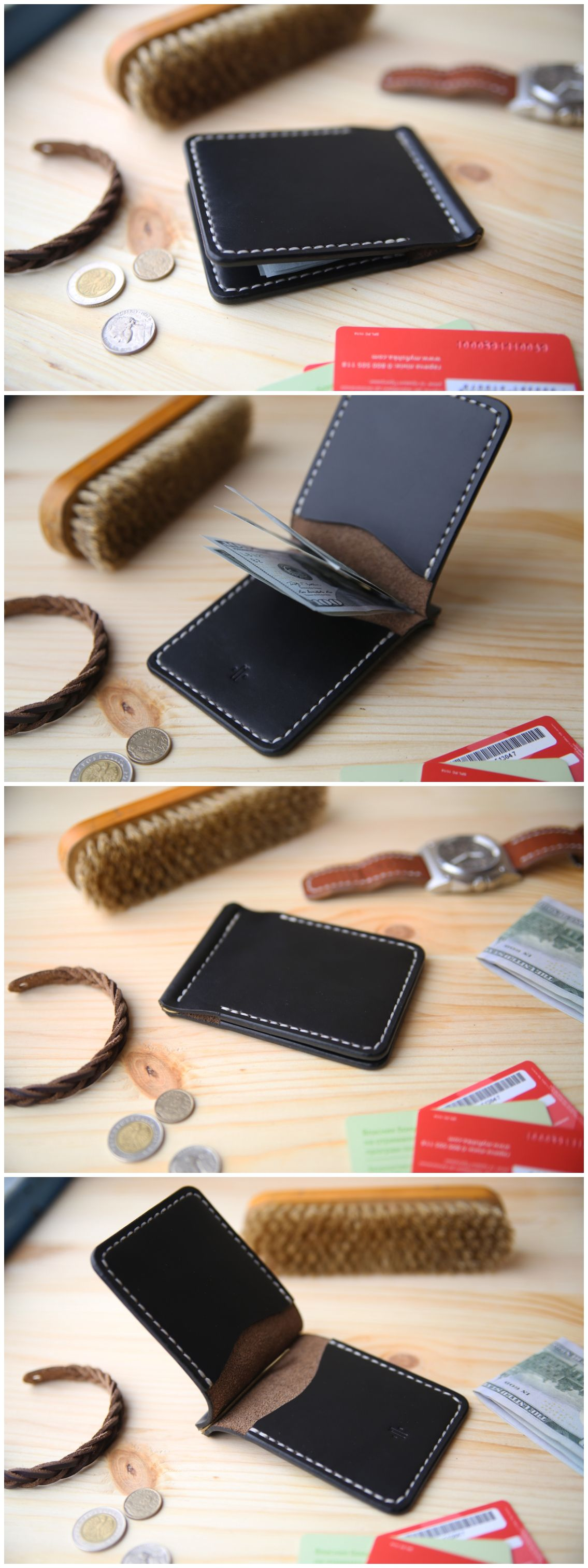 Handmade Bifold Wallet Leather Horween Black Chromexcel
