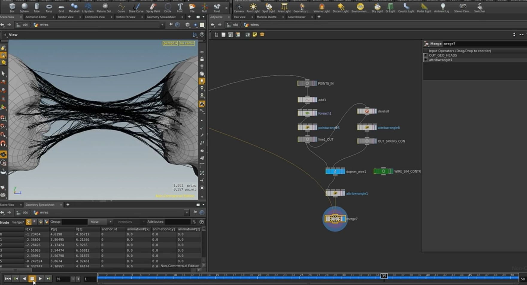 sidefx #Houdini web-like wire constraints setup by Ben. You can ...