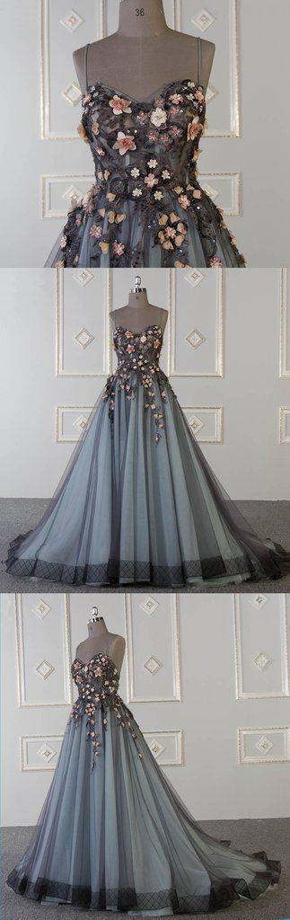 f6463731ae 2019 Spring sweetheart neck A-line customize long tulle flower appliqué  senior prom dress  eveningdress  promdress  promdresses  prom