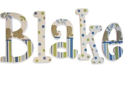 Painted Letters Wooden Nursery Wall Elephant