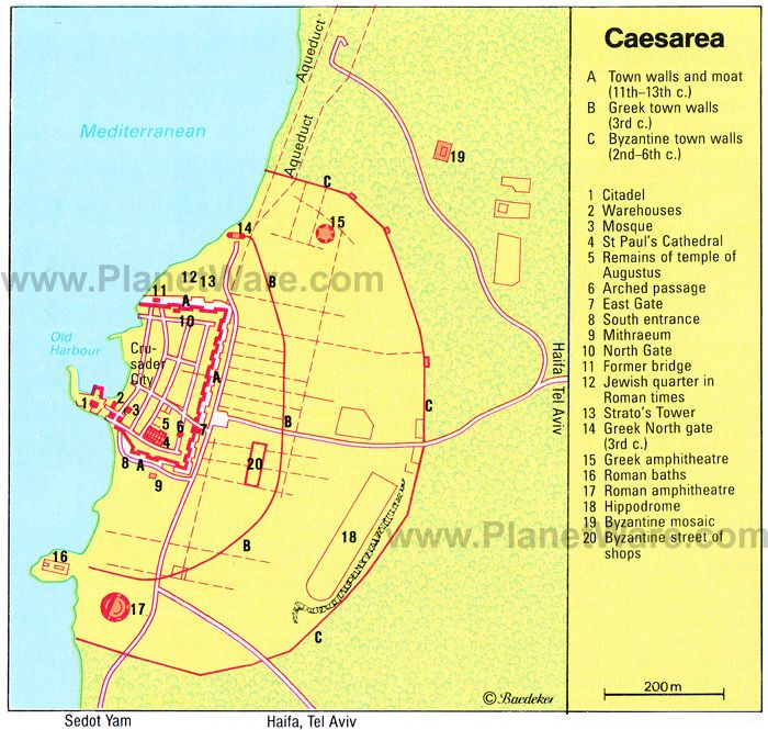 Map of Caesarea Attractions Israel Trip soon Pinterest
