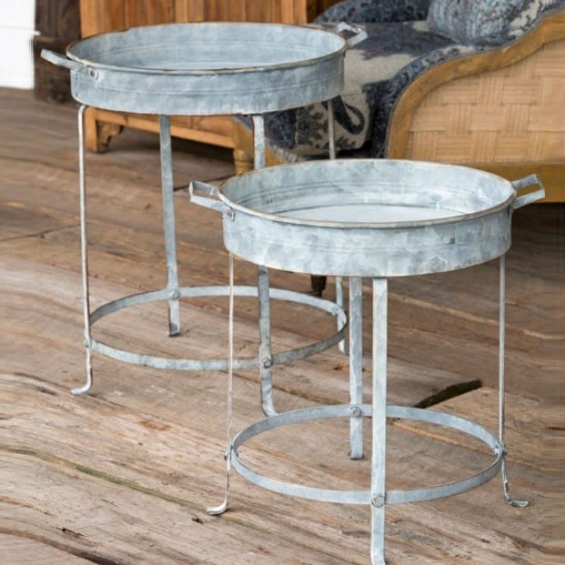 Round Metal Tray Tables Set Of 2 Tray Table Rustic Metal Round Tray