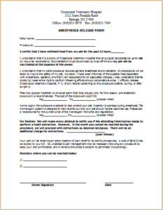 Anesthesia Release Form Download At HttpWwwTemplateinnCom