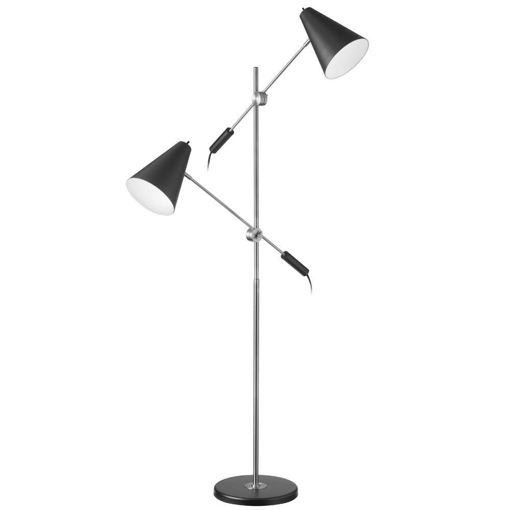 Dainolite 2 Light Adjustable Arm Modern Floor Lamp Black