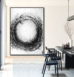 Hand Painted minimal art on canvas, drip painting, black and white art from CZ ART DESIGN. Great choice for a neutral home and modern interiors @CeilneZiangArt