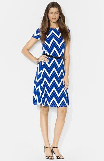 Lauren Ralph Lauren Belted Print Jersey Crewneck Dress available at #Nordstrom