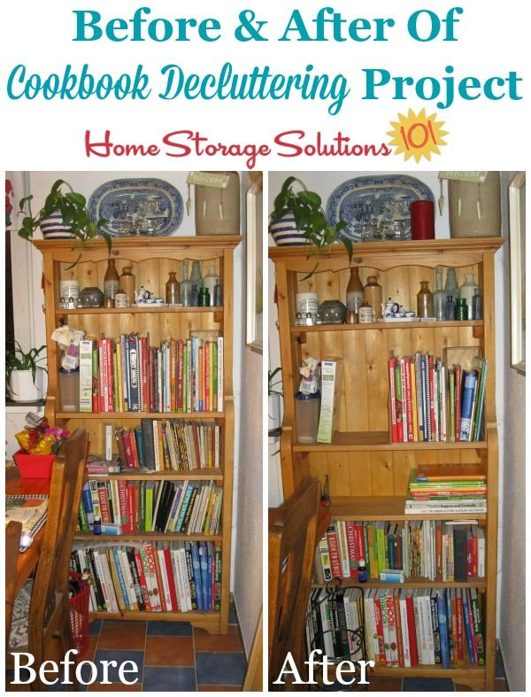 Before And After Of Jenniferu0027s Cookbook Decluttering Project {featured On  Home Storage Solutions ...