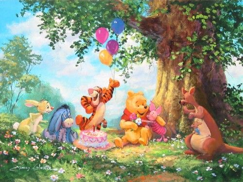 """Pooh's Birthday Party"" by James Coleman - Original Artwork, 12x16.  #Disney #WinnieThePooh #Tigger #DisneyFineArt #JamesColeman"
