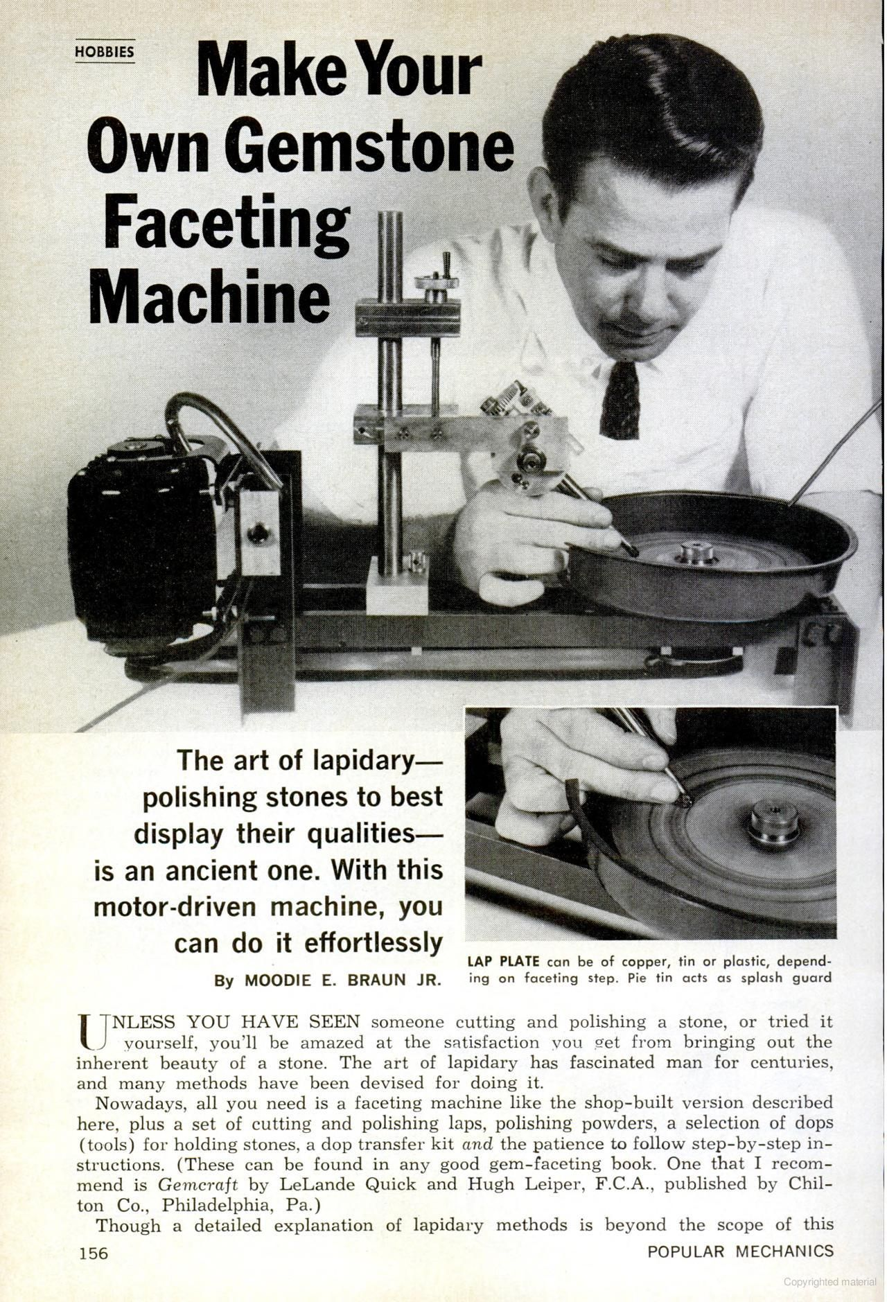 Make Your Own Gemstone Faceting Machine Lapidary Machine Page 1 Lapidary Tools Stone Settings Jewelry Lapidary Jewelry