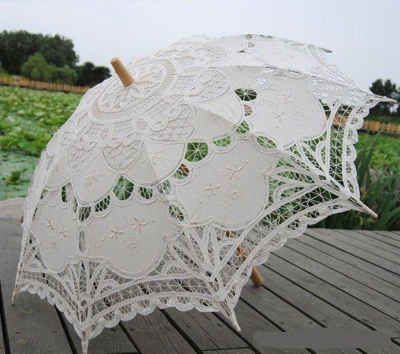 Spitze Hochzeit Regenschirm Stickerei Regenschirme Bridal Party Decor Foto