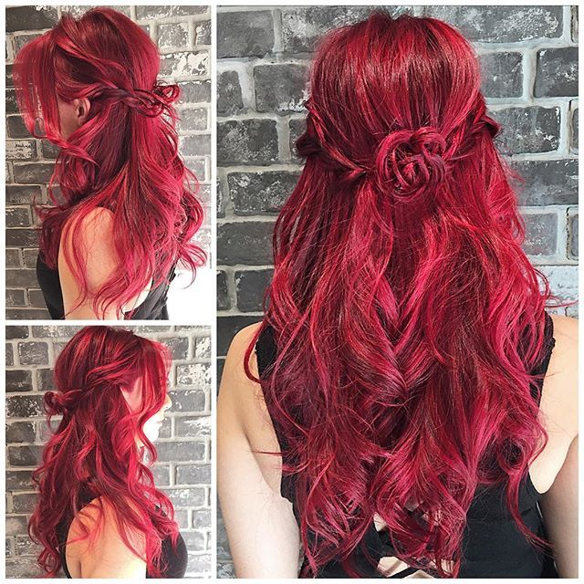 Red Rose Brilliant Cool Red Hair Color With Boho Braided Style By
