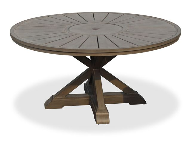 La Jolla Round Aluminum Slat Top Pedestal Table Chair King - 54 round patio table