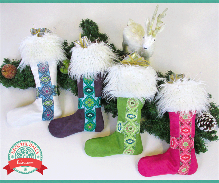 Nordic Faux Fur & Ribbon Christmas Stockings: Deck The Halls with Fabric.com