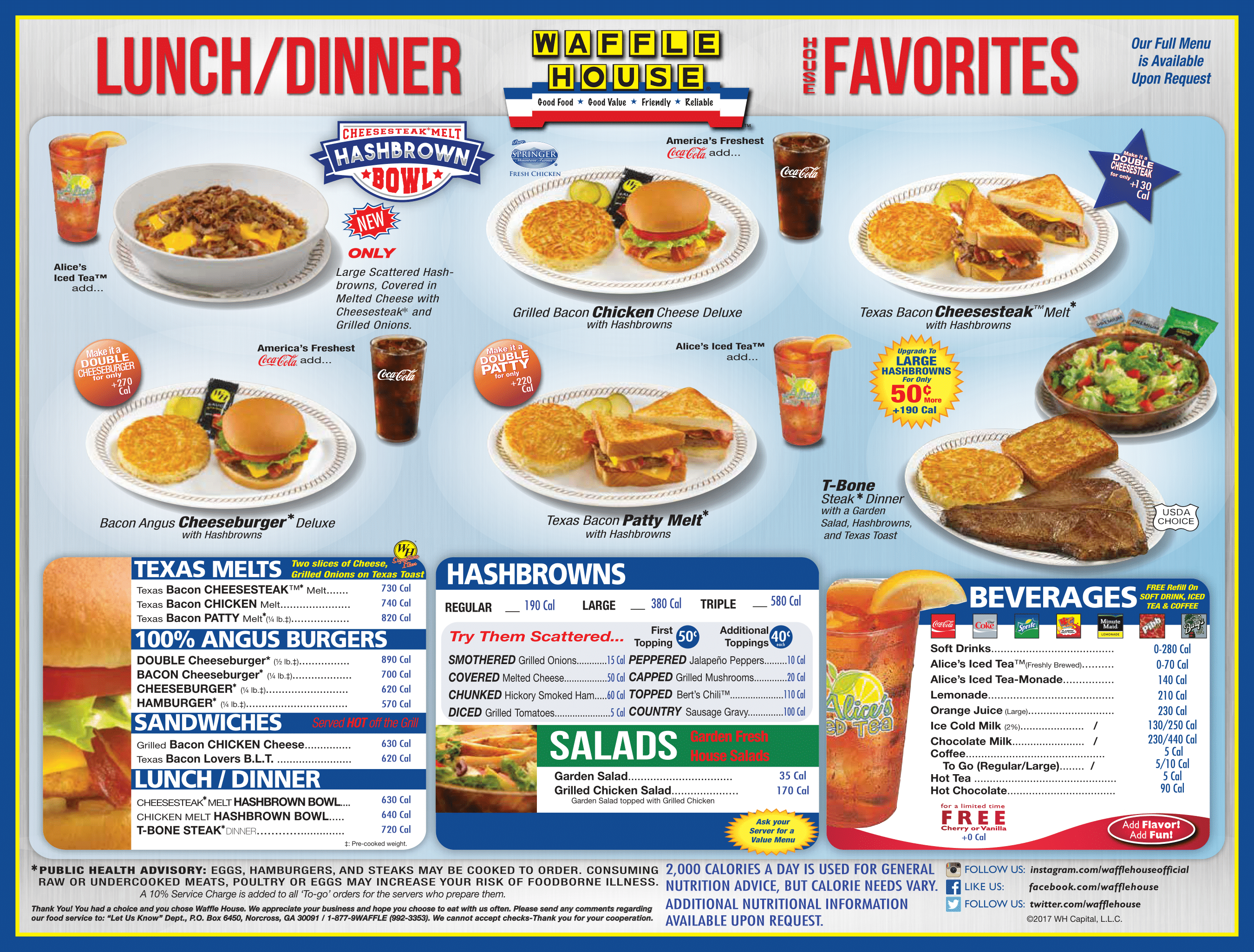 The Waffle House Menu Waffle House Menu Waffle House Bacon On The Grill