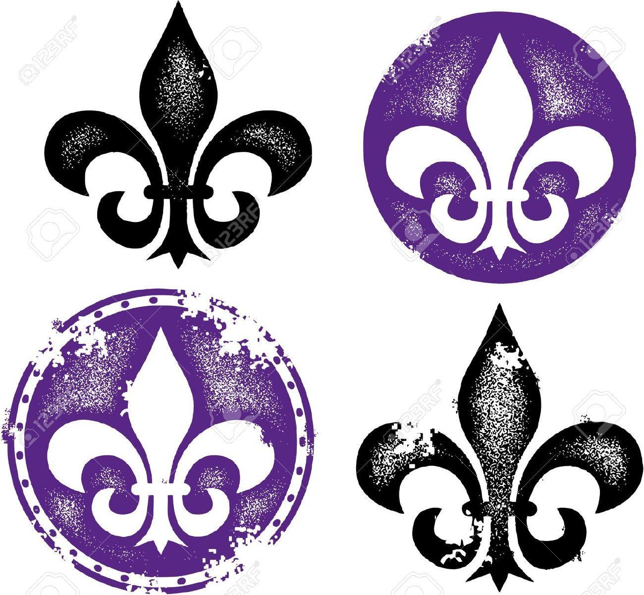 Distressed Fleur De Lis Designs Royalty Free Cliparts