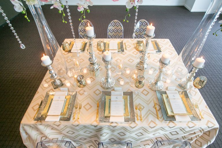 silver and gold wedding inspiration styled shoot