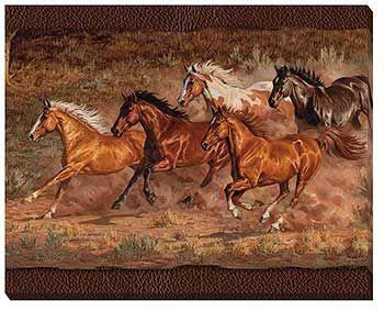 F195193881 Downhill Run Horses Wrapped Canvas Art By Chris Cummings Horse Art Horses Horse Painting