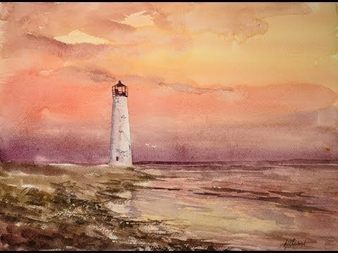 Sunset with a Lighthouse in Watercolor