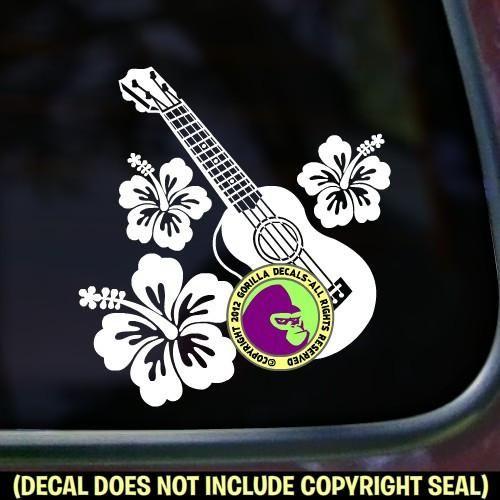 Ukulele Hibiscus Uke Vinyl Decal Sticker Ukulele
