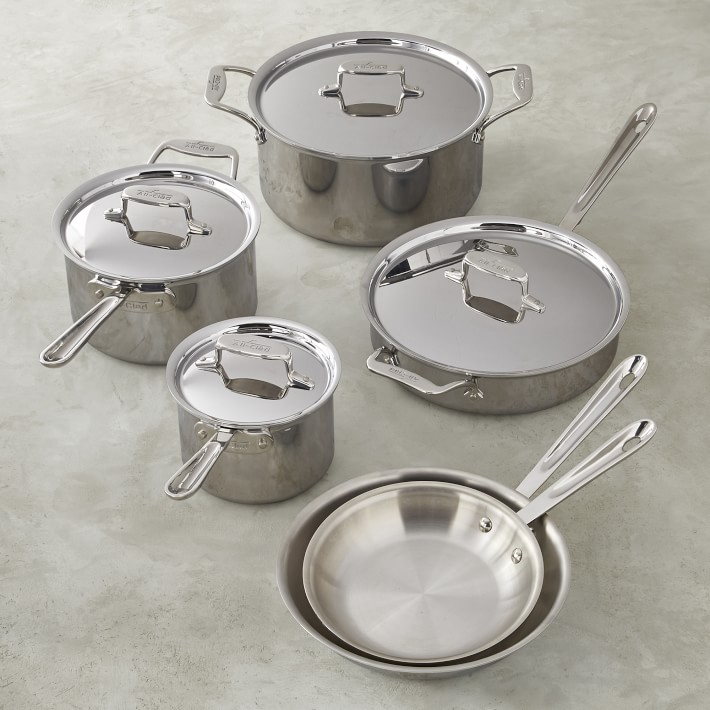 All Clad D5 Stainless Steel 10 Piece Cookware Set In 2021 Cookware Set Copper Cookware Cookware Sets All clad d5 10 piece