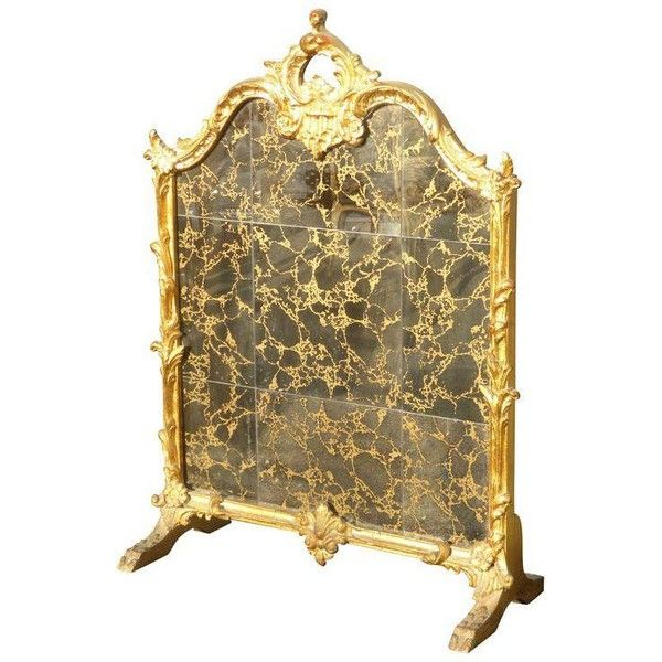 Vintage French Rococo Gold Gilt Fireplace Screen ($550) ❤ liked on