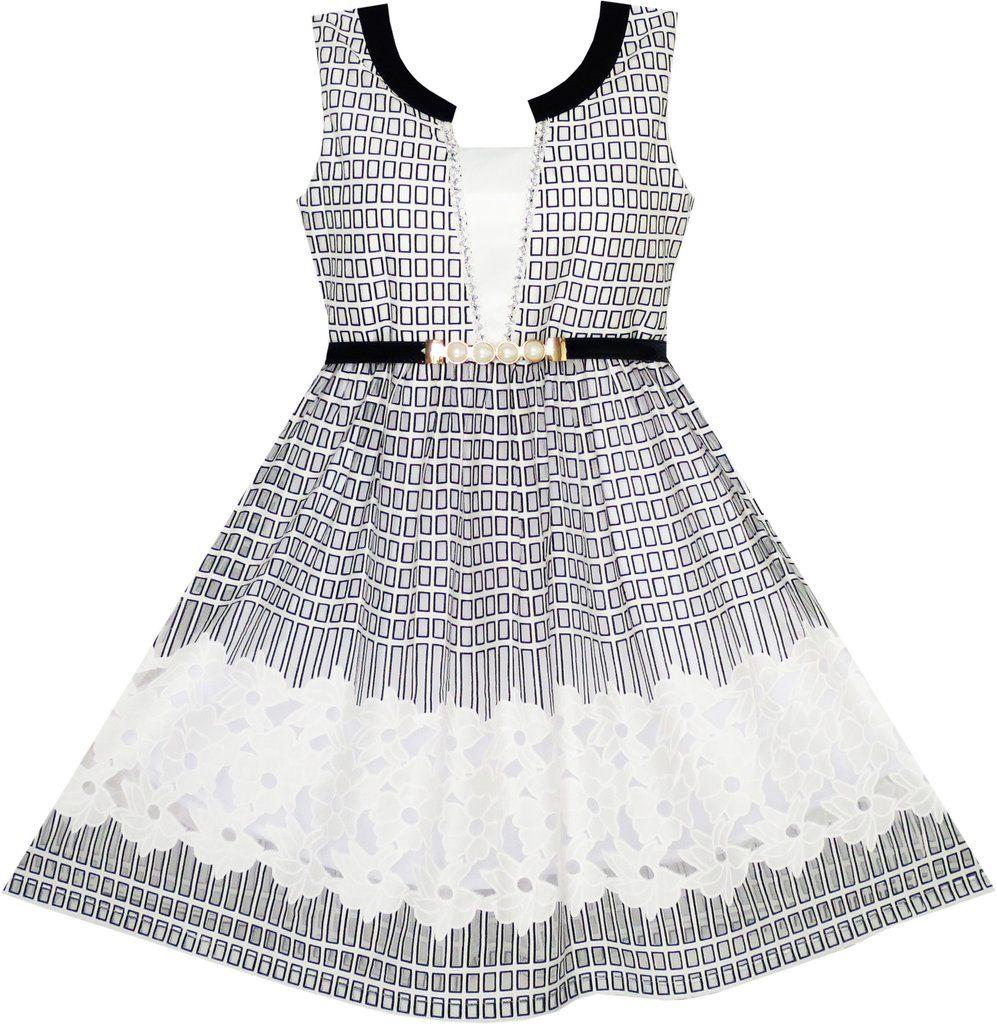 Sunny Fashion Girls Dress Lace to Chiffon Striped Black White Tied Waist