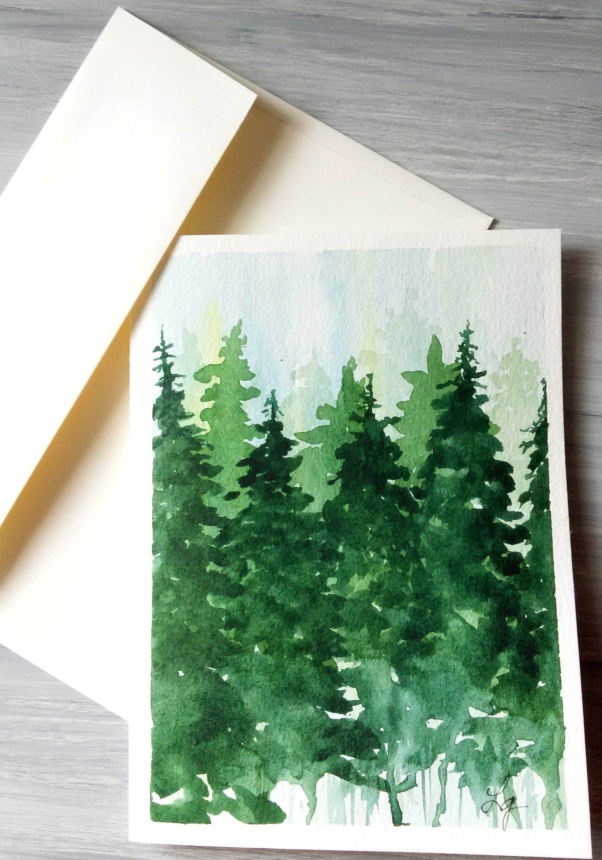 Evergreen Forest Watercolor Landscape Painting Greeting Card Or