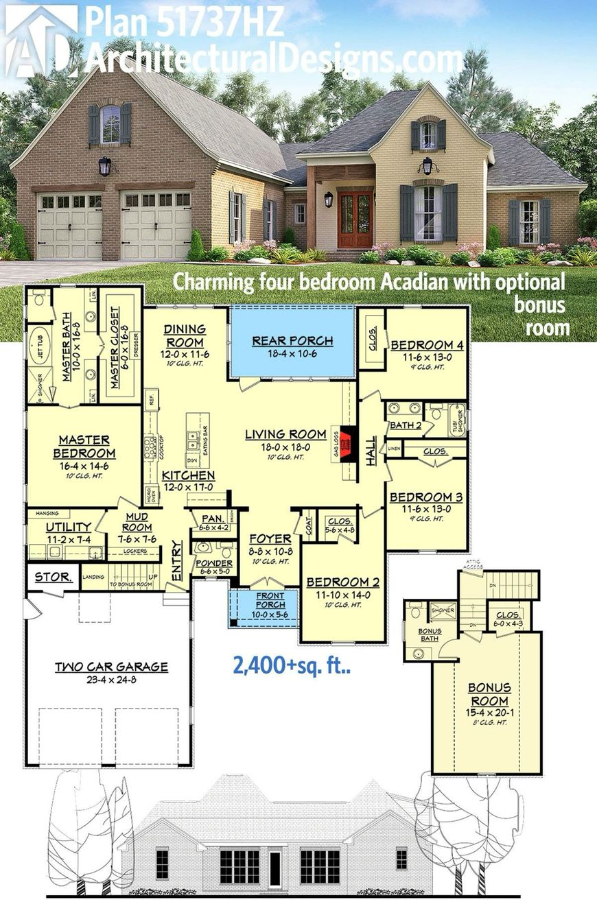 Luxury master bedroom floor plans  Plan HZ Charming four bedroom Acadian with optional bonus room